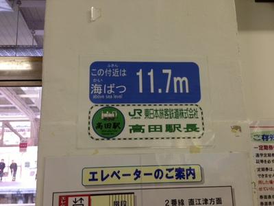 高田駅の海抜
