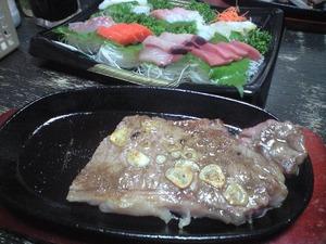 お刺身とステーキ